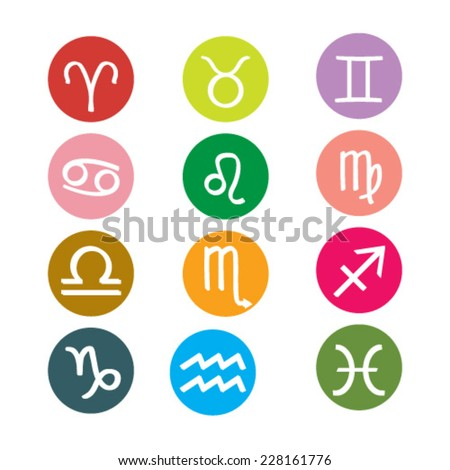 Set of round Zodiac Symbol icons on color background. Vector illustration.  #228161776
