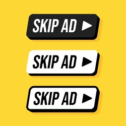 Set of rounded rectangle skip ad button. Vector flat illustrations. Stop advertisement. Buttons in black and white colors with lettering on yellow backdrop.