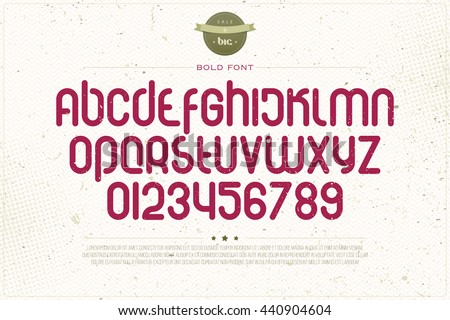 set of rounded style alphabet letters and numbers over grunge paper texture. vector font type design. modern, bold lettering icons. vintage logo text typesetting. retro alphabets typeface template