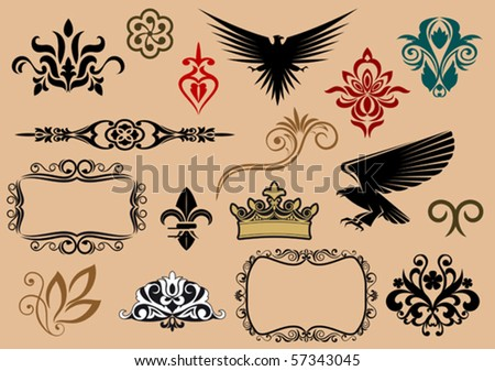 Set of royal heraldic elements. Jpeg version also available in gallery
