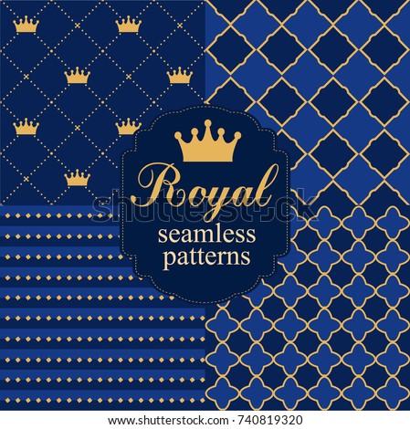 set of royal seamless vector