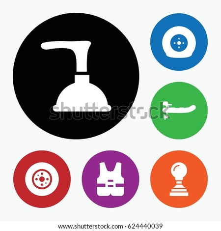 set of 6 rubber filled icons