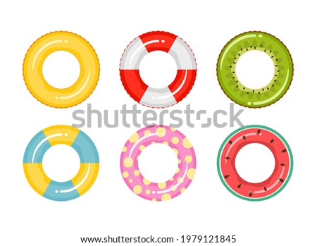 Set of rubber inflatable swimming rings. Toy for water and beach or trip safety. Life saving floating lifebuoy for beach or ship. Vector illustration. Foto d'archivio ©
