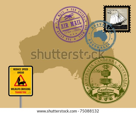 Set of rubber stamps of theme Australia, vector illustration