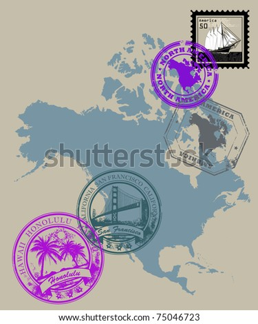 Set of rubber stamps of theme North America, vector illustration