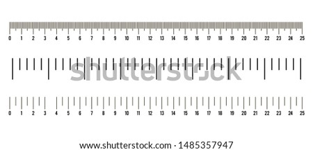 Set of ruler size indicators with different unit distances,inches and centimeters. Vector illustration