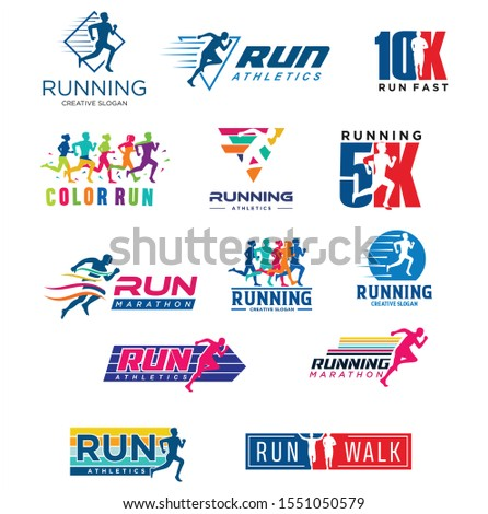 Set Of Run Logo Design vector Stock symbol .Running logo sport concept  .  running marathon Logo Design Template . Color run logo Design