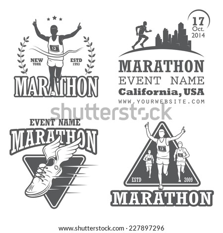 set of running marathon and
