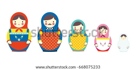 set of russian dolls family