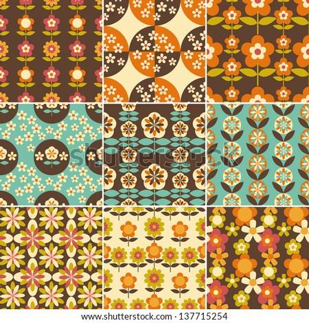 Set Of 1970s Seamless Patterns Design Wallpaper Stock