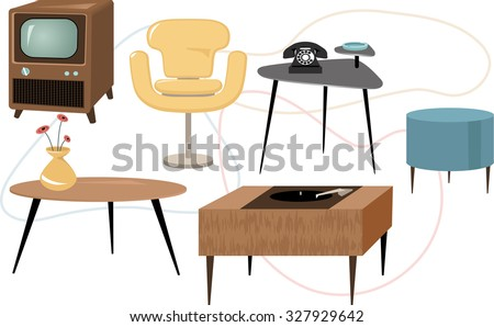 set of 1950s style mid century modern furniture eps 8 vector illustration generalized - Mid Century Modern Furniture Of The 1950s