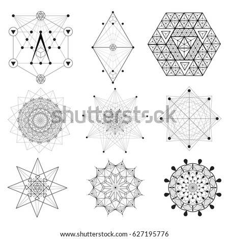Set of Sacred Geometry / Alchemy / Religion / Philosophy / Spirituality  elements