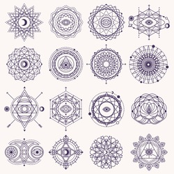 Set of Sacred Geometry Forms with Eye, Moon and Sun Isolated on White. Vector illustration. Geometric Logo Design, Spirograph Lines. Alchemy Symbol, Occult and Mystic Sign.