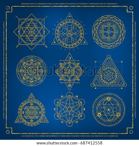 Set of Sacred Geometry golden forms with frame on blue background