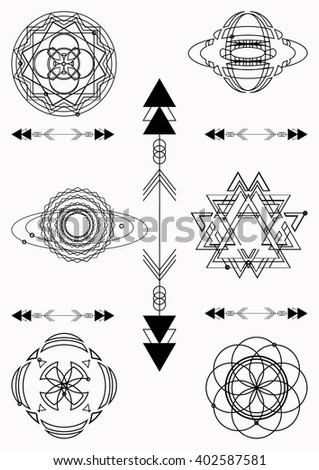 Set of sacred geometry. Vector graphic symbols and elements #402587581