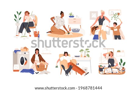 Set of sad unhappy women tired from housework. Busy overworked housewives exhausted from household duties and domestic chores. Colored flat graphic vector illustration isolated on white background Stock photo ©