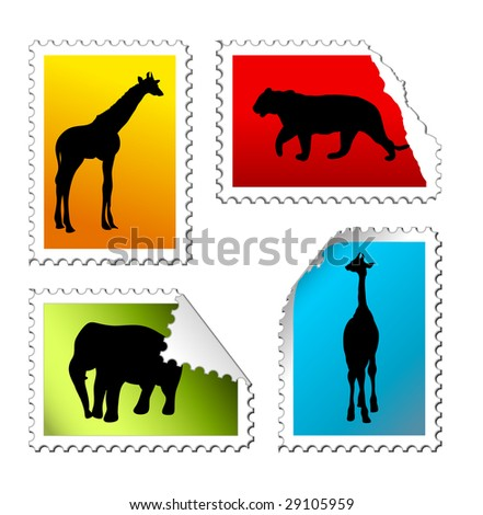 set of safari post stamps on a white background