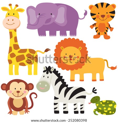 set of safari wild animals