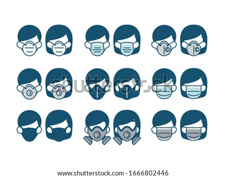 Set of Safety breathing mask on man and woman face vector have various type of mask n95 medical carbon surgical paper gas mask for prevent covid-19 coronavirus dust pm2.5  pollution toxic chemi gas