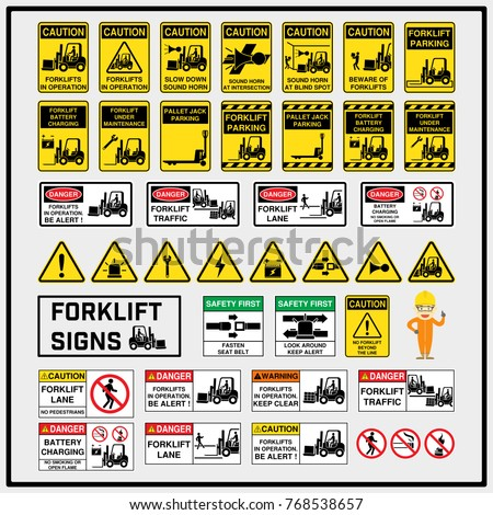 set of safety caution signs and ...