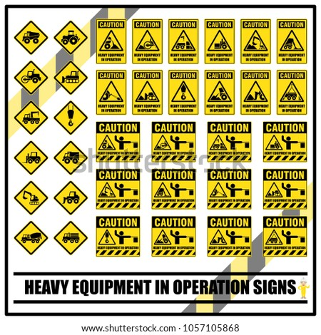 set of safety caution signs and