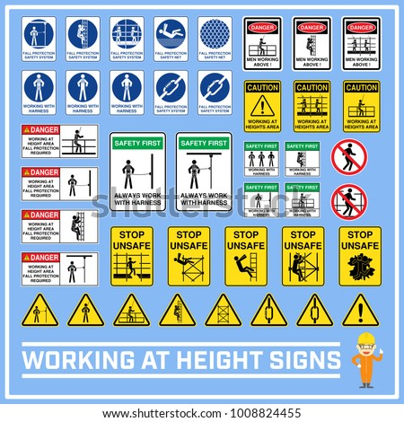 Set of safety caution signs and symbols of working at heights, Working at height signs to use in worldwide construction and industrial services