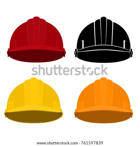 Set of Safety Helmets , Colored and Black Working Hard Hat Safety Helmets on a White Background , Vector Illustration