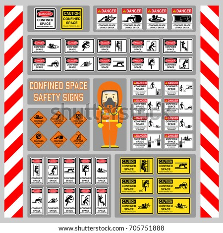 Set of safety signs and symbols of confined space, Signs and symbols for use as safety warning and regulation at confined space area, Rope buddy system