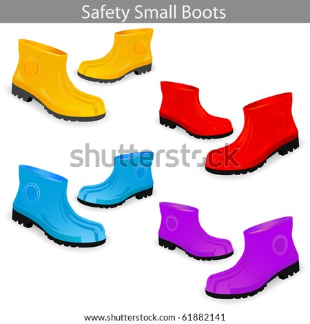 Set of Safety Small Boots. Vector Illustration