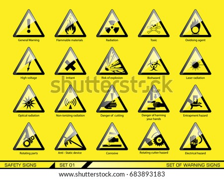 Set of safety warning signs. Signs of danger. Signs of alerts.