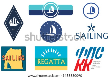 Set of sailing logos  for yachting sport.  Vector. Yachts, sails, lettering