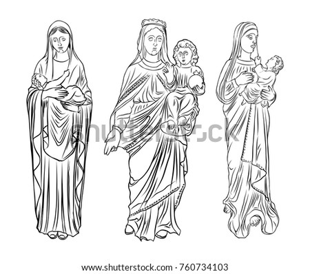 set of saint mary holding baby