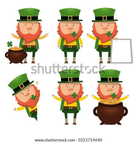 Set of Saints Patrick. National Irish hero. Vector illustration isolated on white background.