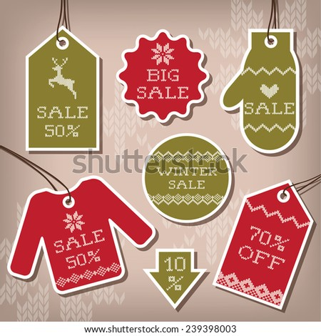Set of sale and discount labels for winter