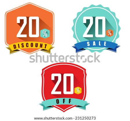 Set Of 20 Sale And Discount Long Shadow Flat Color Design 20 Off