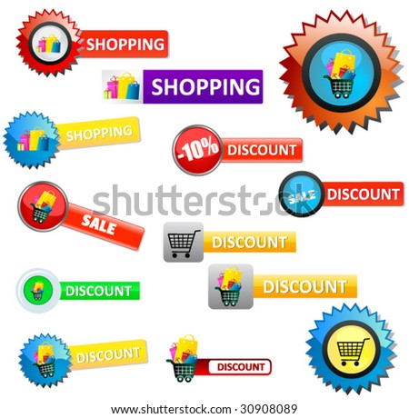 set of sale and shopping elements - stock vector