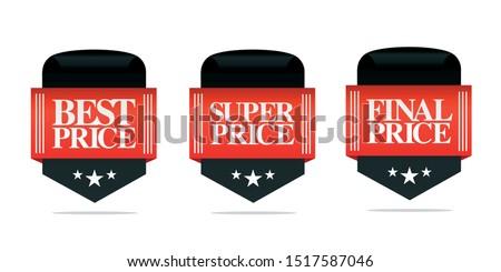 Set of sale badges, best price, super price, final price. Vector illustration
