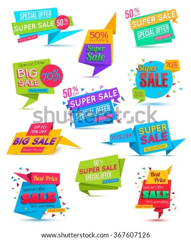 Set of Sale Banner. Vector paper banner template. Shopping Banner. Vector illustration.