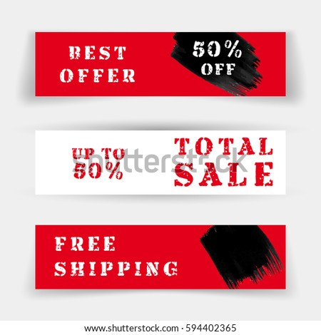 Set of Sale banners or website headers, discounts and special offer. Vector illustration, label for business promotion