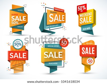 Set of sale banners. Special offer templates. Discount labels. Up to 50 percent off vector badges. Half price colorful stickers. Shopping backgrounds