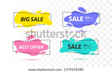 Set of sale banners with trendy shapes. Vector discount banners