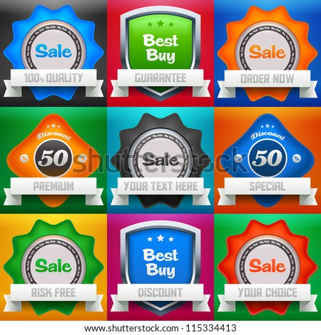 Set of sale, best buy & discount icons/labels