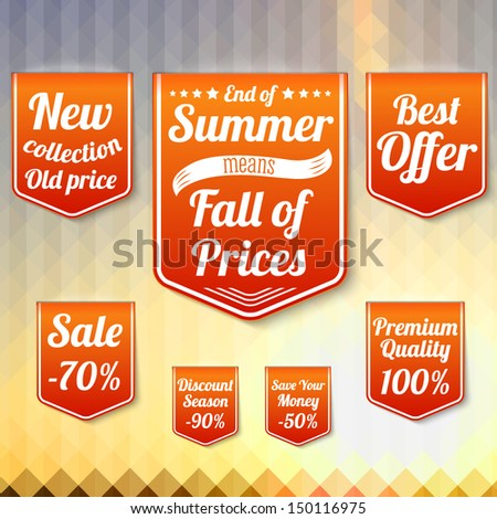 Set of sale business banners, for the late summer and for the autumn. On the triangle late summer background. Vector. ストックフォト ©
