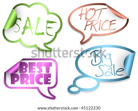 Set of Sale Comic Clouds and bubbles as stickers and labels with colorful borders (vector)