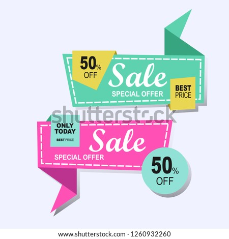 Set of sale discount ribbon design with origami abstract style. Collection of banners in modern colorful flat label sticker emblem tag vector geometry. #1260932260