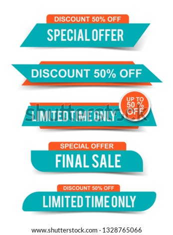 Set of Sale headers or banners, special offer tags, discount stickers. Vector elements for website design #1328765066