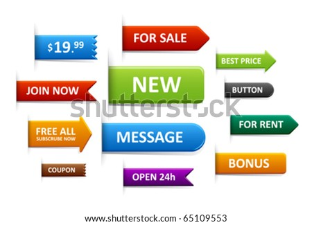 Set of sale labels, price tags, discount tags, pointers. - stock vector