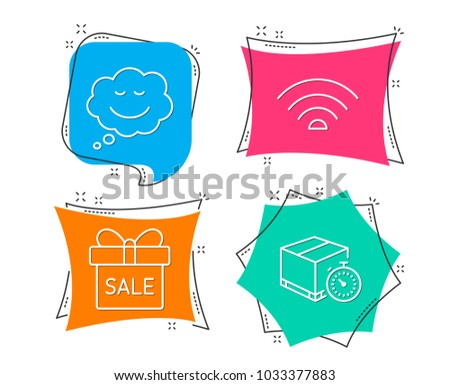 Set of Sale offer, Speech bubble and Wifi icons. Delivery timer sign. Gift box, Comic chat, Wi-fi internet. Express logistics.  Flat geometric colored tags. Vivid banners. Trendy graphic design