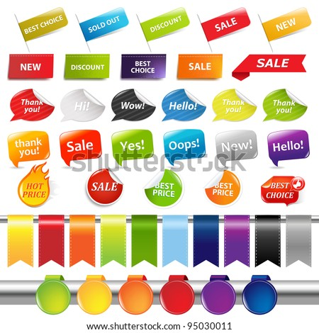 Set Of Sale Stickers And Labels, Isolated On White Background, Vector Illustration - stock vector