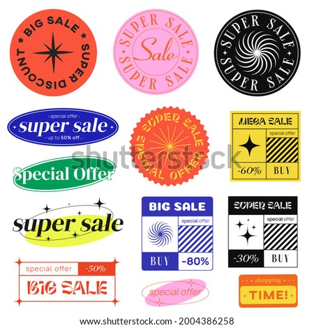 Set Of Sale Stickers Vector Signs. Special Offer Labels. Modern promo elements.